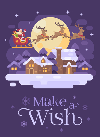 Santa Claus flying over the snowy night winter village landscape in a sleigh drawn by three reindeer. Christmas flat illustration greeting card