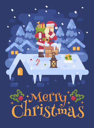 Cheerful Santa Claus on a roof climbing into the chimney with a bag full of presents  on Christmas night. Blue winter flat illustration card