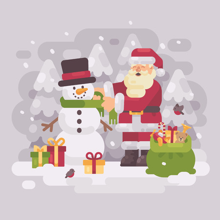 Happy Santa claus giving a scarf to a cute snowman. Christmas flat illustration