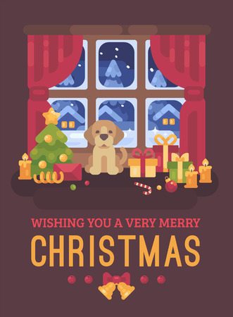 Cute puppy sitting at the window with a snowy winter landscape. Christmas flat illustration card