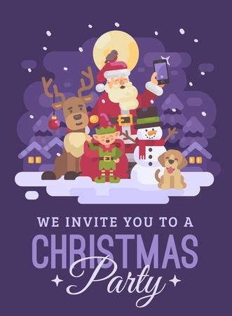 Santa Claus with reindeer, elf, snowman and dog taking a selfie in a snowy night winter village landscape. Christmas invitation card flat illustration Ilustração