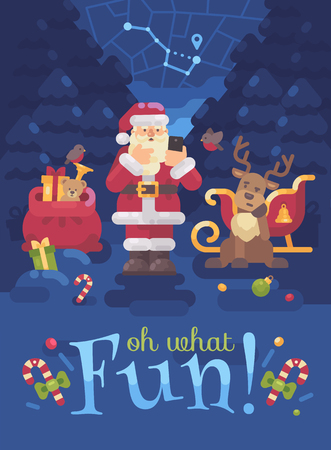 Santa Claus and his reindeer lost their way in the forest and Santa is trying to find their location with GPS on his smartphone. Christmas flat illustration Ilustrace