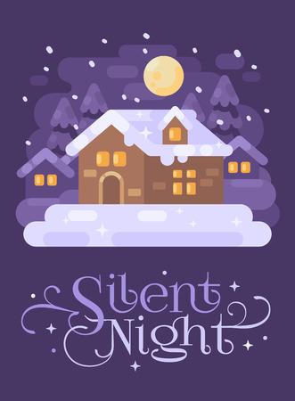 Snowy purple winter village landscape with a house. Silent Night Christmas flat illustration greeting card Reklamní fotografie - 127727315
