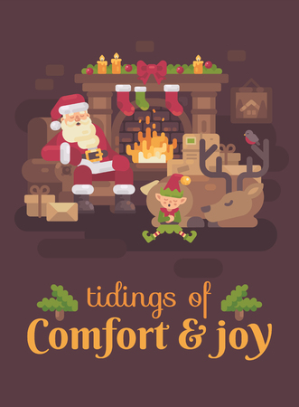 Tired Santa Claus with his reindeer and elf sleeping by the fireplace after a hard Christmas day. New Year greeting card Reklamní fotografie - 127727318