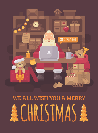 Santa Claus sitting at the desk in his office filled with parcels for children. Santa with a laptop checking emails. Christmas flat illustration greeting card