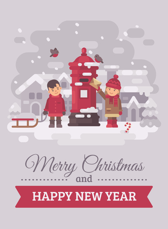 Two cute children sending a letter to Santa Claus Christmas greeting card flat illustration. Merry Christmas and Happy New Year