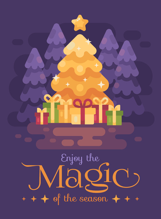 A big bright shinning Christmas tree with presents in  a night forest. Christmas magic flat illustration card