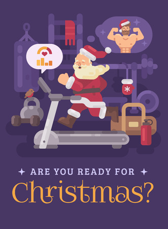 Santa Claus exercising and getting into shape for Christmas. Santa running on a treadmill in a gym dreaming of a strong body. Christmas greeting card