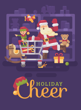 Santa Claus riding a shopping cart with his elf in a toy supermarket. Christmas flat illustration card Ilustrace