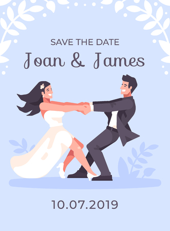 Romantic young couple holding hands and spinning around, forming a heart shape. Save the date blue wedding card Ilustrace