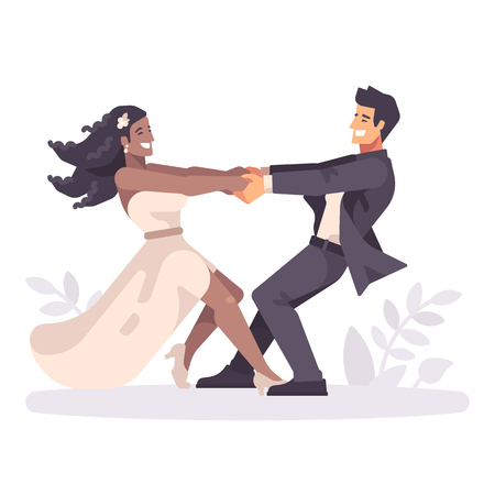 Romantic young wedding couple holding hands and spinning around, forming a heart shape