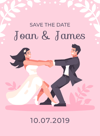 Romantic young couple holding hands and spinning around, forming a heart shape. Save the date pink wedding card Ilustrace