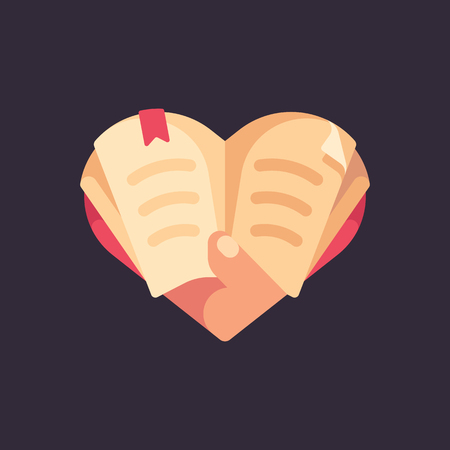 Hand holding a book in the shape of a heart. Love for reading flat illustration