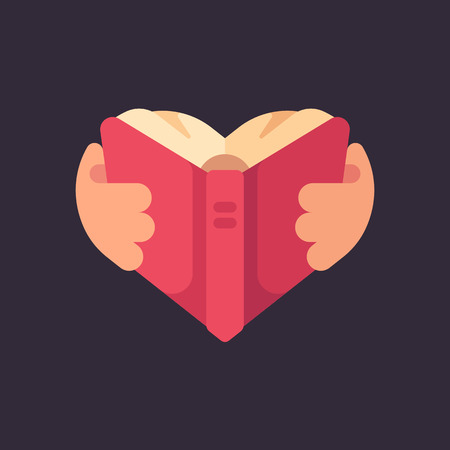 Hands holding a book in the shape of a heart. Love for reading flat illustration
