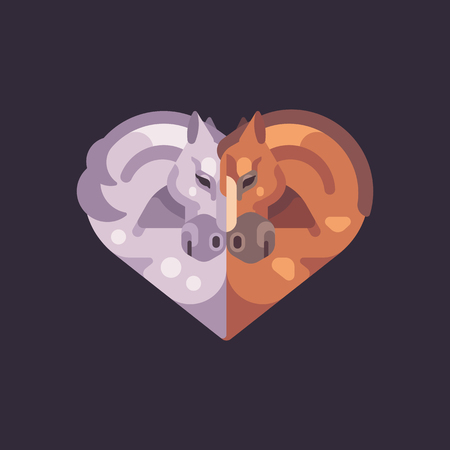 Two romantic horses in the shape of a heart. Valentines Day flat illustration.