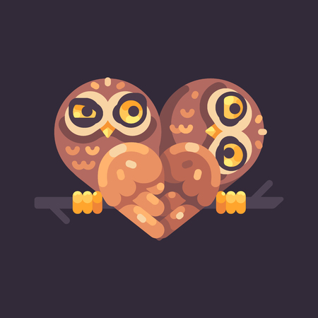 Two funny owls on a branch in the shape of a heart. Valentines Day flat illustration.