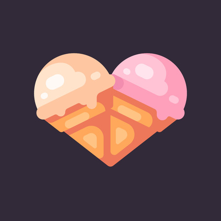 Two ice cream cones in the shape of a heart flat illustration Reklamní fotografie - 125334643