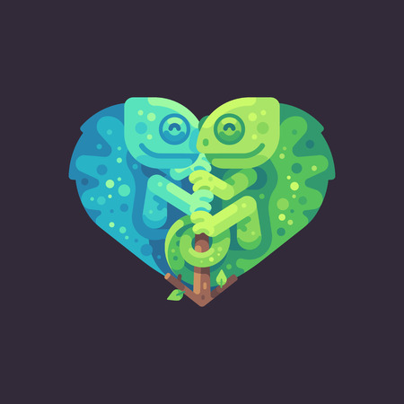 Two cute chameleons on a branch in the shape of a heart. Valentines Day flat illustration.