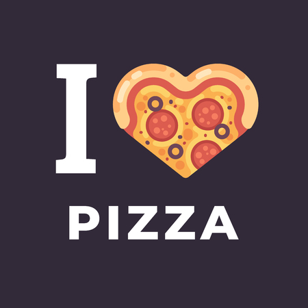 I love pizza flat illustration. Heart shaped pizza slice