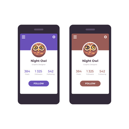 Mobile app interface concept. User profile with an owl avatar
