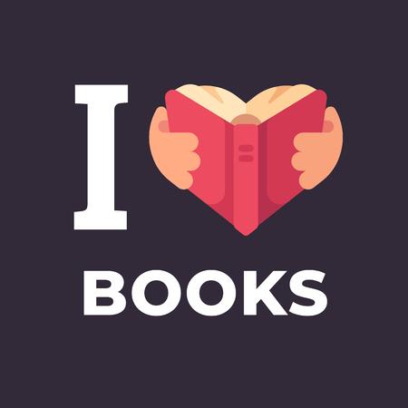 I love books flat illustration. Hands holding a book in the shape of a heart. Ilustração