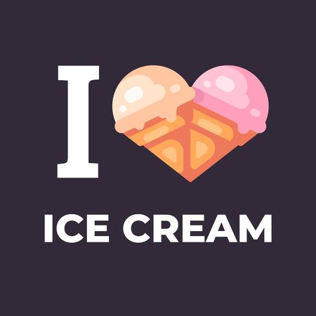 I love ice cream flat illustration. Two ice cream cones in the shape of a heart Ilustrace