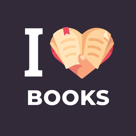 I love books flat illustration. Hand holding a book in the shape of a heart.