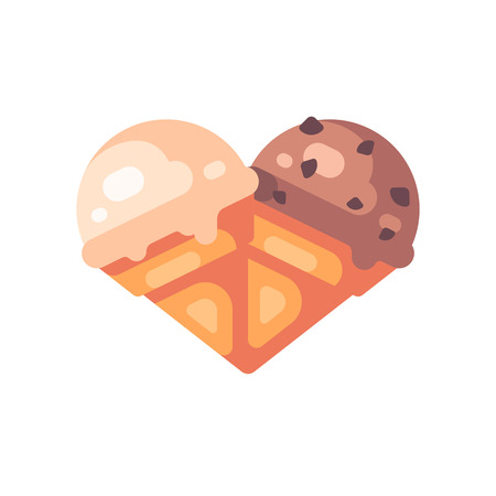 Two ice cream cones in the shape of a heart. Vanilla and chocolate ice cream flat icon