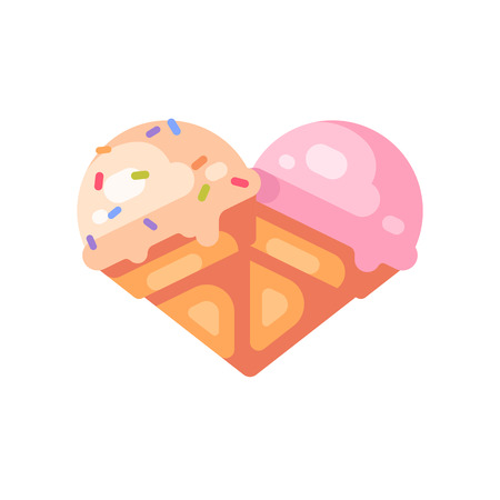 Two ice cream cones in the shape of a heart. Vanilla and cherry ice cream flat icon