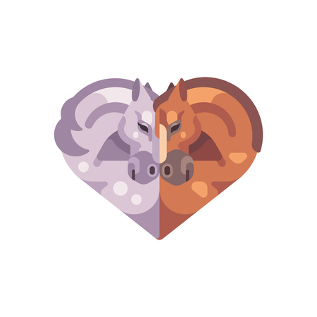 Two romantic horses in the shape of a heart. Valentine's Day flat illustration.