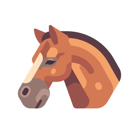 Brown horse head side view flat icon