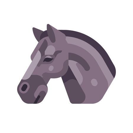Black horse head side view flat icon
