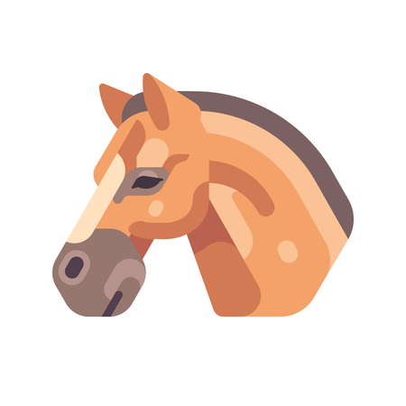 Light brown horse head side view flat icon