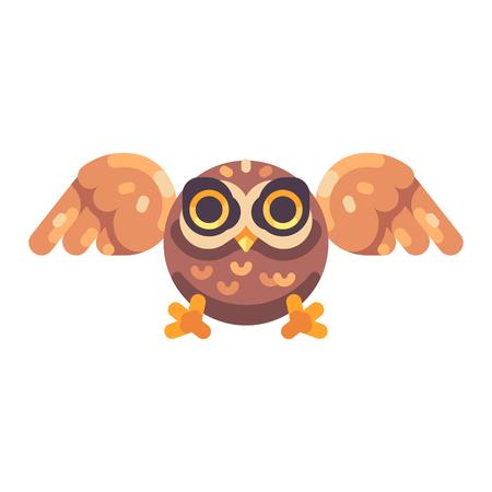 Cute little brown owl hunting flat icon Reklamní fotografie - 117404154