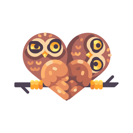 Two funny owls on a branch in the shape of a heart. Valentines Day flat illustration. Reklamní fotografie - 117404155