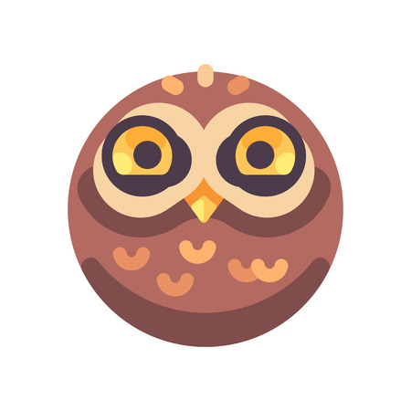 Funny cute brown owl face flat icon Ilustrace