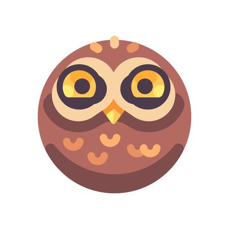 Funny cute brown owl face flat icon Ilustração