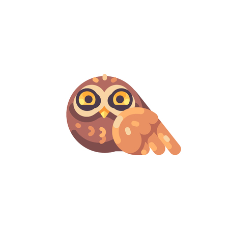 Funny cute little brown owl flat icon Reklamní fotografie - 117404156