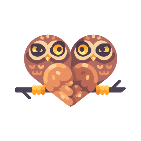 Two funny suspicious owls on a branch in the shape of a heart. Valentines Day flat illustration. Reklamní fotografie - 117404157