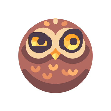 Funny suspicious brown owl face flat icon