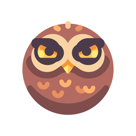 Funny angry brown owl face flat icon Reklamní fotografie - 117404159