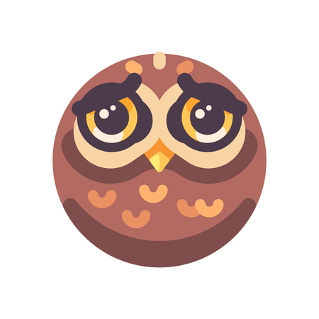 Funny sad brown owl face flat icon Ilustração