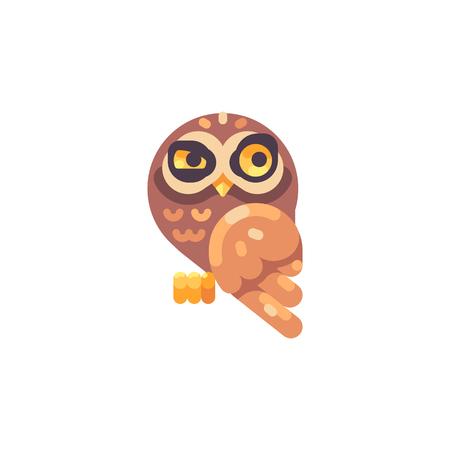 Funny suspicious little brown owl flat icon Reklamní fotografie - 117404160