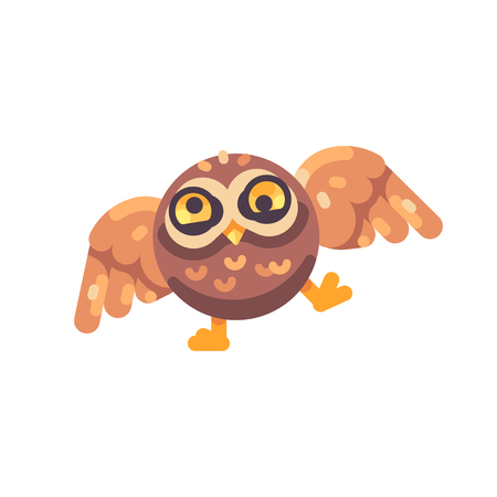 Funny cute drunk brown owl flat icon
