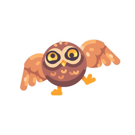 Funny cute drunk brown owl flat icon Reklamní fotografie - 117404162