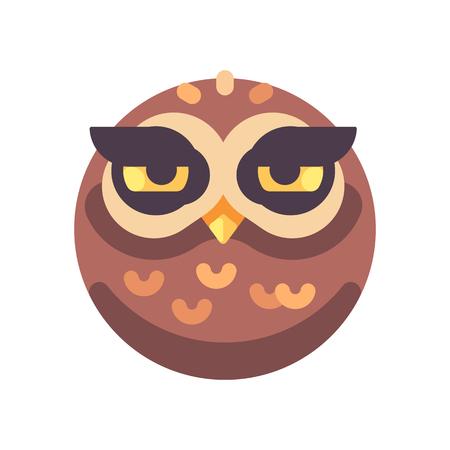 Funny sleepy brown owl face flat icon Reklamní fotografie - 117404163