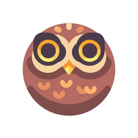 Funny scary brown owl face flat icon