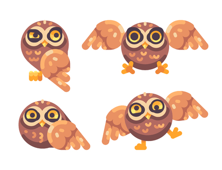 Set of funny brown owls flat illustration Reklamní fotografie - 117404166