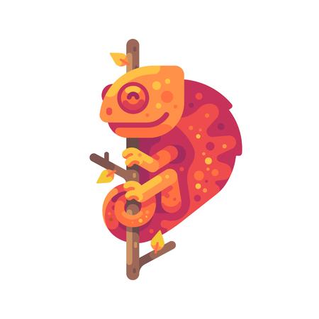 Orange chameleon sitting on a tree branch. Exotic animal flat illustration Ilustração