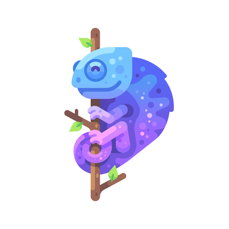 Blue and purple chameleon sitting on a tree branch. Exotic animal flat illustration
